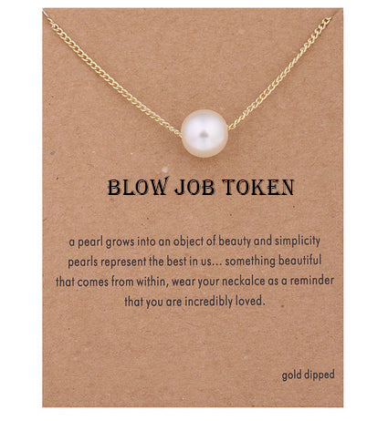 BLOW JOB TOKEN Pear Pendant Necklace Gift For Women