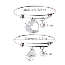 Load image into Gallery viewer, Big Sis Little Sis 2 Pieces Matching Heart Bracelet Set, Necklace set