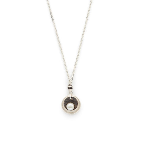Oxidized Sterling Silver Cupped White Pearl Necklace - Lily Brooklyn