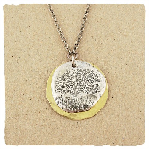 Sterling Oak Tree Impression with Hammered Brass Disc Necklace - Lily Brooklyn
