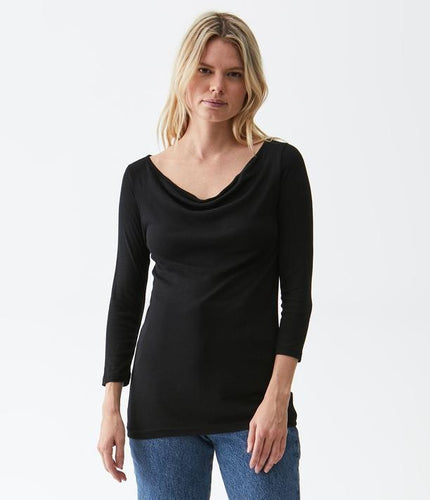 3/4 Sleeve Drape Neck Tee - Lily Brooklyn