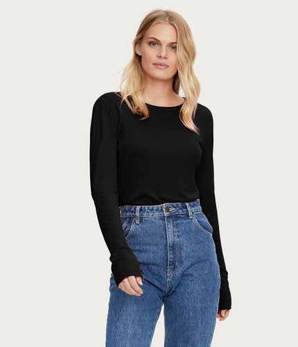 Kristen Long Sleeve Slub Tee O/S - Lily Brooklyn