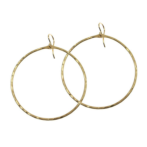 Hammered Signature Large Hoop - Lily Brooklyn