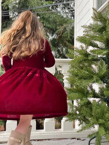 "Vignette ""Charlotte"" Burgundy Velvet Dress : Sizes 2 - 8"