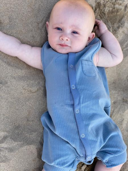 Me & Henry Blue Ribbed Sleeveless Romper : NB to 18m
