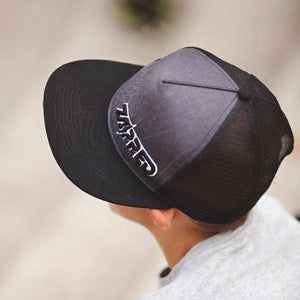 Zapped Flat bill, FULLY REFLECTIVE mesh-backed kids ball cap. Local Designer