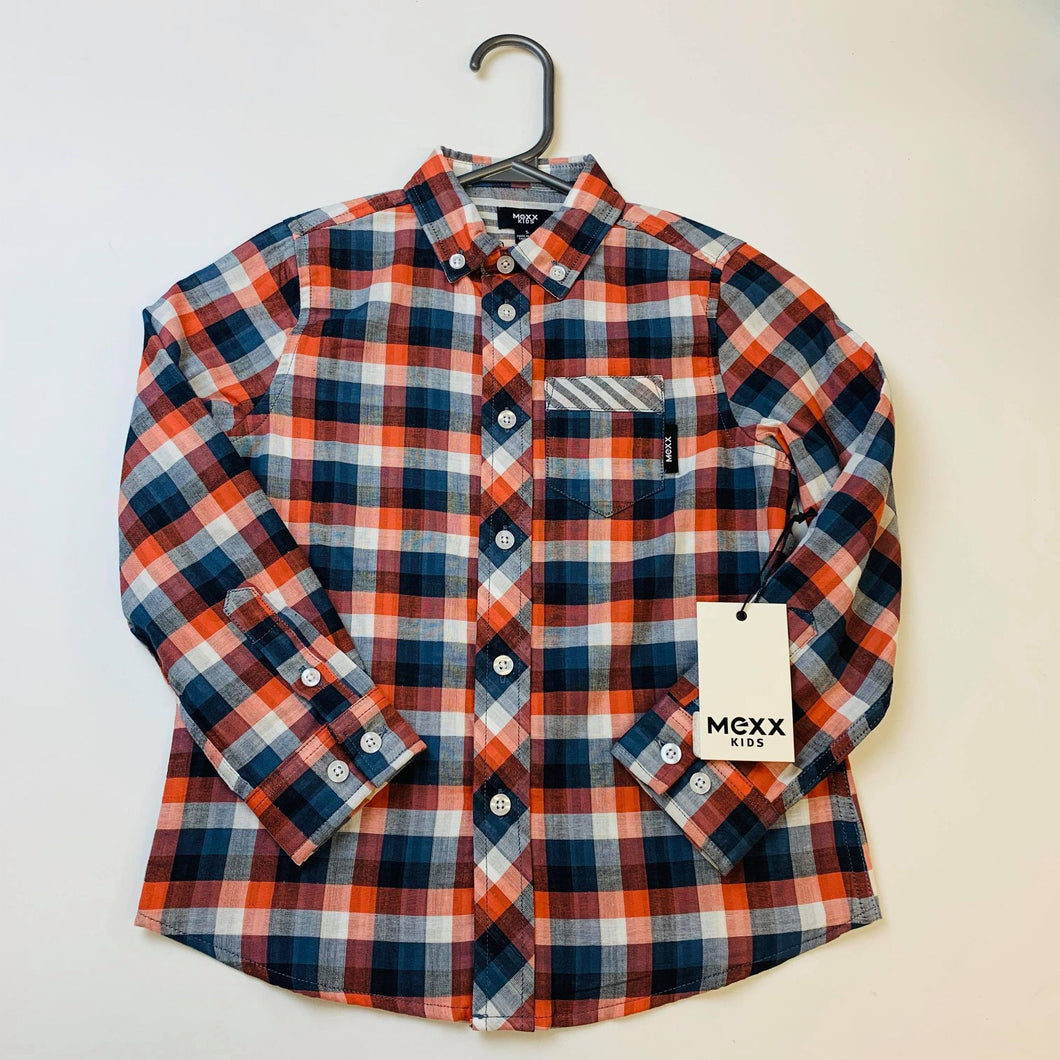Mexx Kids Navy/Orange/Grey Plaid Shirt : Sizes 6 to 14