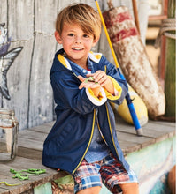 Load image into Gallery viewer, Hatley Navy Yellow Lined Zip Splash Jacket
