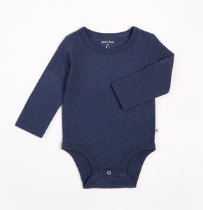 Organic Cotton Long Sleeve Heather Navy Onesie
