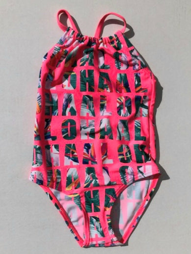 Girls Bright Pink Aloha Swimsuit :  Sizes 2 to 7