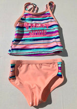 Load image into Gallery viewer, Girls Vacay Mode Striped Two Piece Swimsuit: Sizes 2 to 7