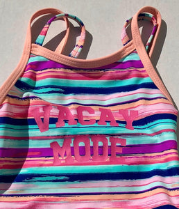 Girls Vacay Mode Striped Two Piece Swimsuit: Sizes 2 to 7