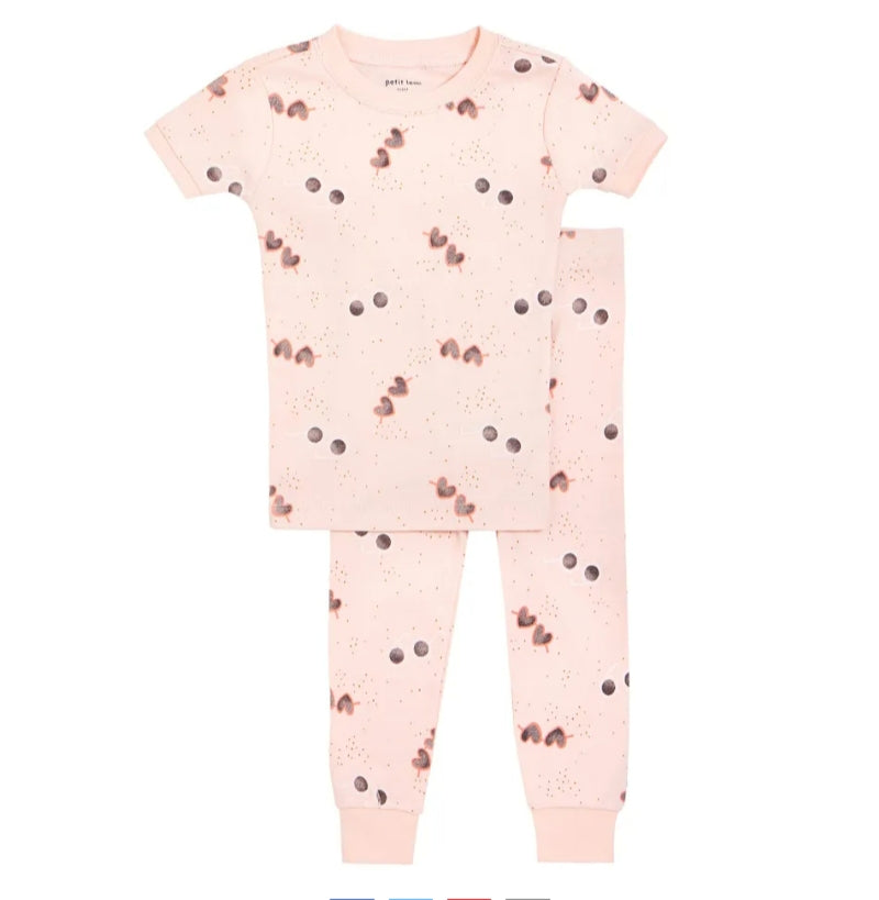 Petit Lem Girls Organic Cotton Pink Short Sleeved Pjs: Size 2 to 6x