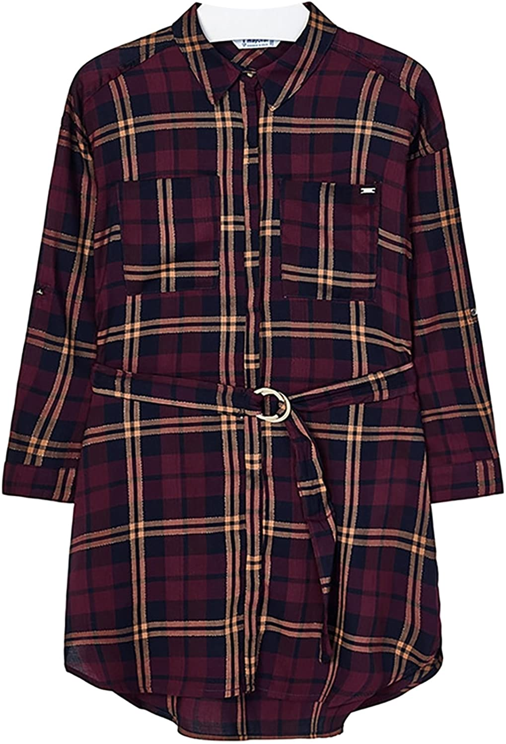 Mayoral Girls Burgundy Plaid Belted Dress : Sizes 14 to 18