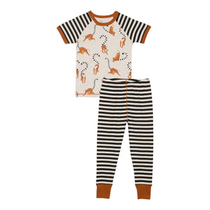 "Organic Cotton Lemur Print Pajama Top & Striped Pants Set ""Glow In The Dark"""