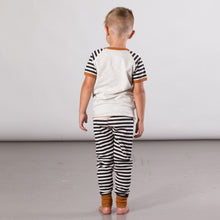 "Load image into Gallery viewer, Organic Cotton Lemur Print Pajama Top & Striped Pants Set ""Glow In The Dark"""