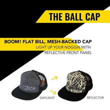 Load image into Gallery viewer, Zapped Flat bill, FULLY REFLECTIVE mesh-backed kids ball cap. Local Designer