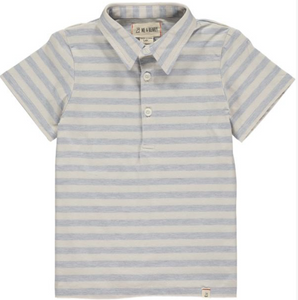 Me & Henry Blue and Cream Striped Polo Shirt : Sizes 8 to 16