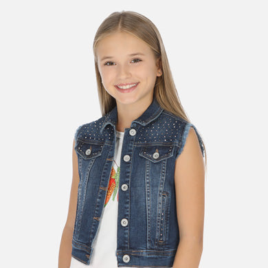 Mayoral Girls Denim Vest with Mini Studs : Sizes 8 to 18