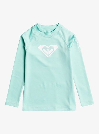 Roxy Girls Long Sleeved Rashguard in Seaglass : Sizes 3 to 6
