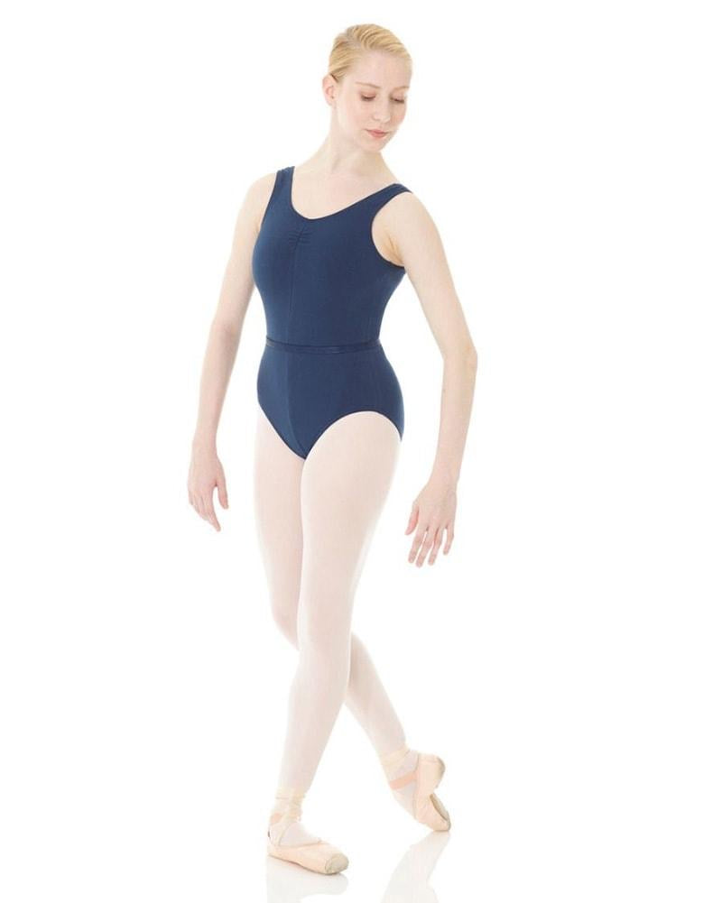 Mondor Navy Pinched Front Leotard : Sizes 8 to 14 (style #1633)