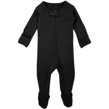 Loved Baby Black Organic Zipper Footed Sleeper