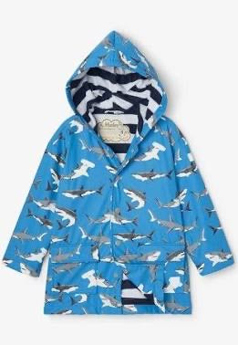 Hatley Deep Sea Sharks Colour Changing Rain Coat: Sizes 2 to 12