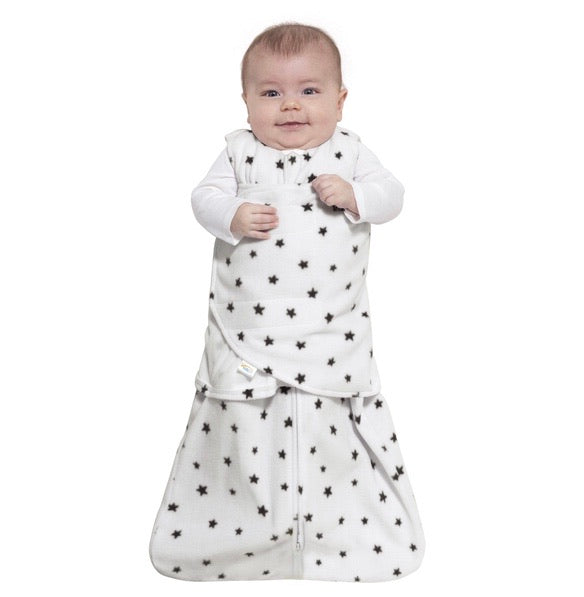 Halo Grey Twinkle Stars Newborn Fleece Sleep Sack Swaddle