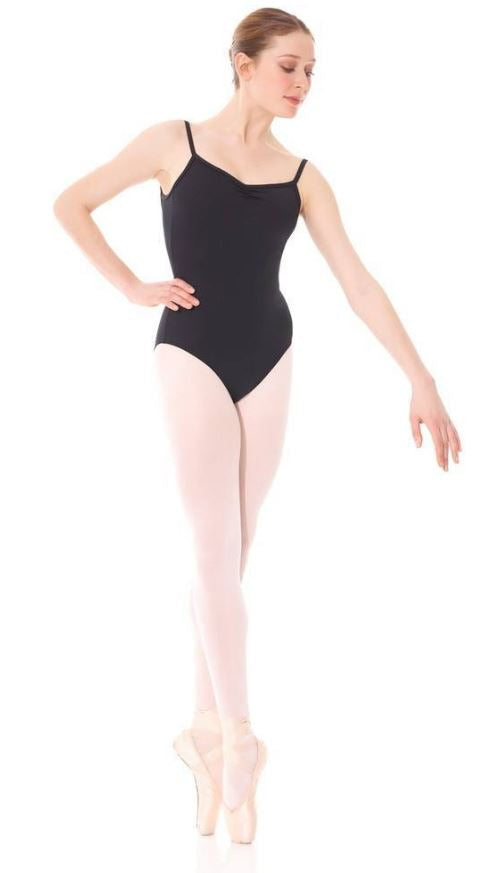 Mondor Black Scoop Back/Ruched Front Spaghetti Strap Leotard : Sizes 8 to Adult XL (style #3521)