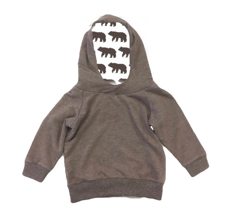 Portage and Main Brown/Bear Cotton Hoodie : Sizes 1m to Youth Small