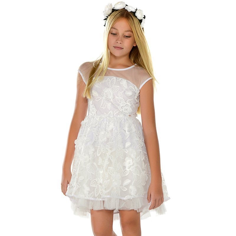 Mayoral Formal White Dress for Youth: Sizes 8 to 18