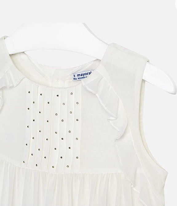 Mayoral White Blouse With Cut out Detail for Youth: Sizes 8 to 18