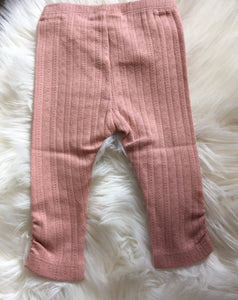 Fixoni Dusty Pink Ribbed Leggings: sizes 0m-2 years