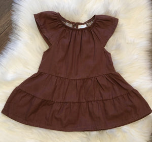 Enfant Mocha Tiered Twirl Dress: 3M - 18M