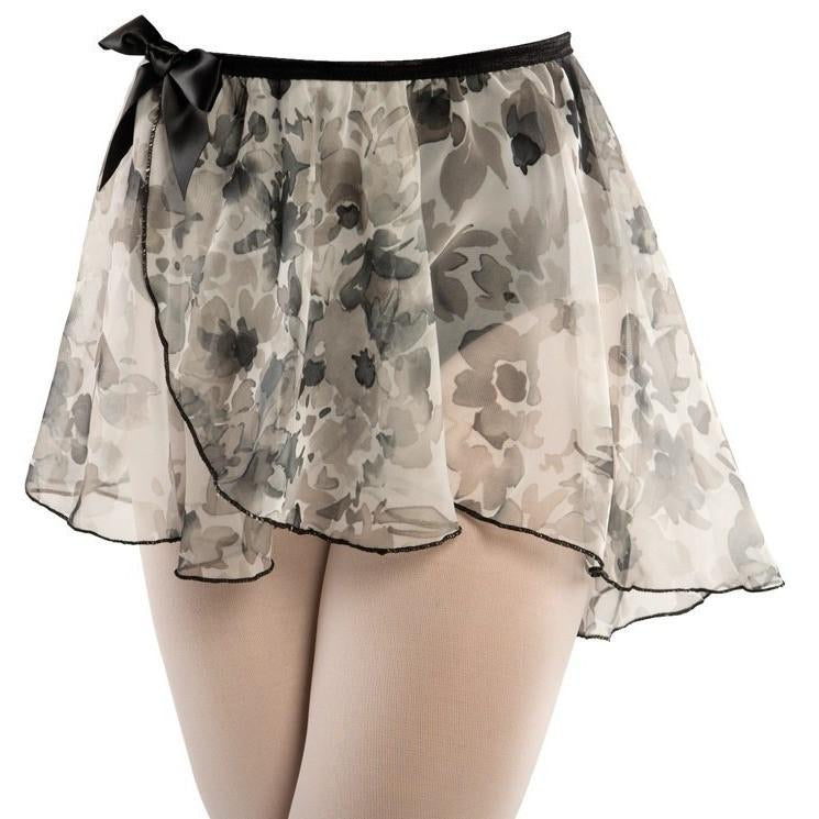 Black and White Floral Wrap Pullup Circle Dance Skirt