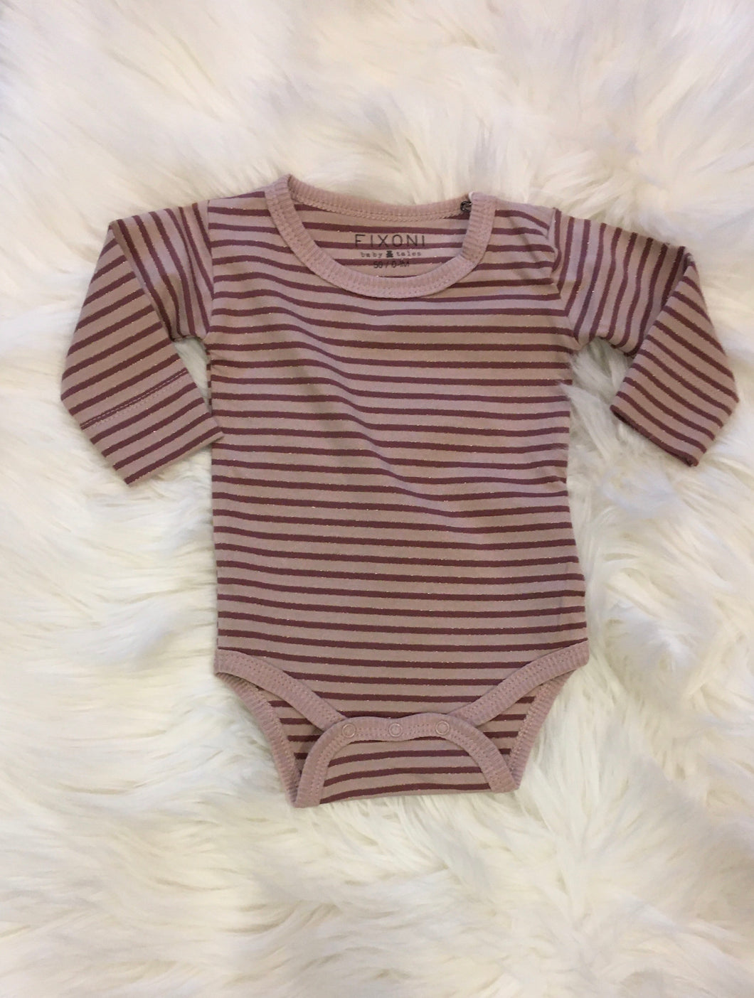 Fixoni Plum Gold Lurex Striped Baby Girl Onesie