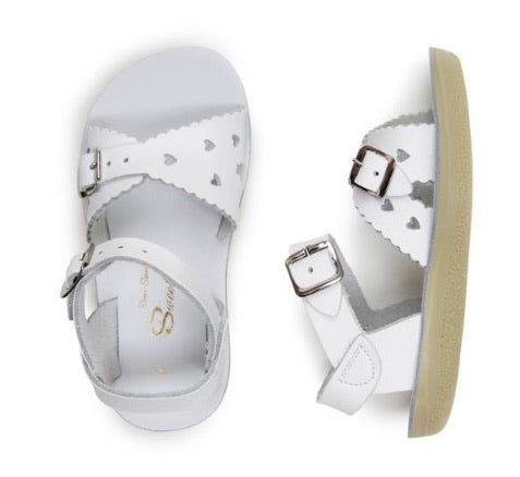 Saltwater Sweetheart Sandals in White in sizes 5 to Youth 3