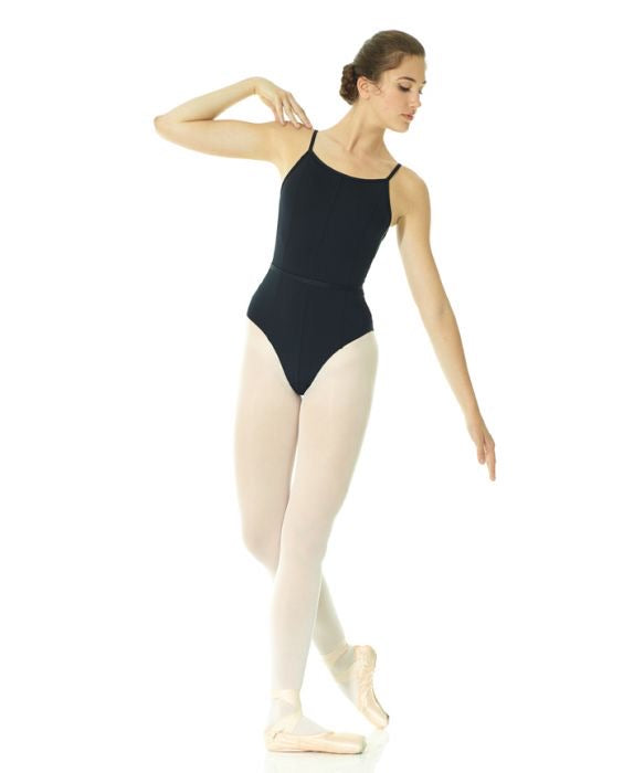 Mondor 4 panel Black Leotard with Scoop Back : Sizes XS to XL (style #13520)