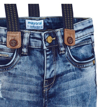 Load image into Gallery viewer, Mayoral Distressed Denim Trousers with Suspenders in size 2 to 9
