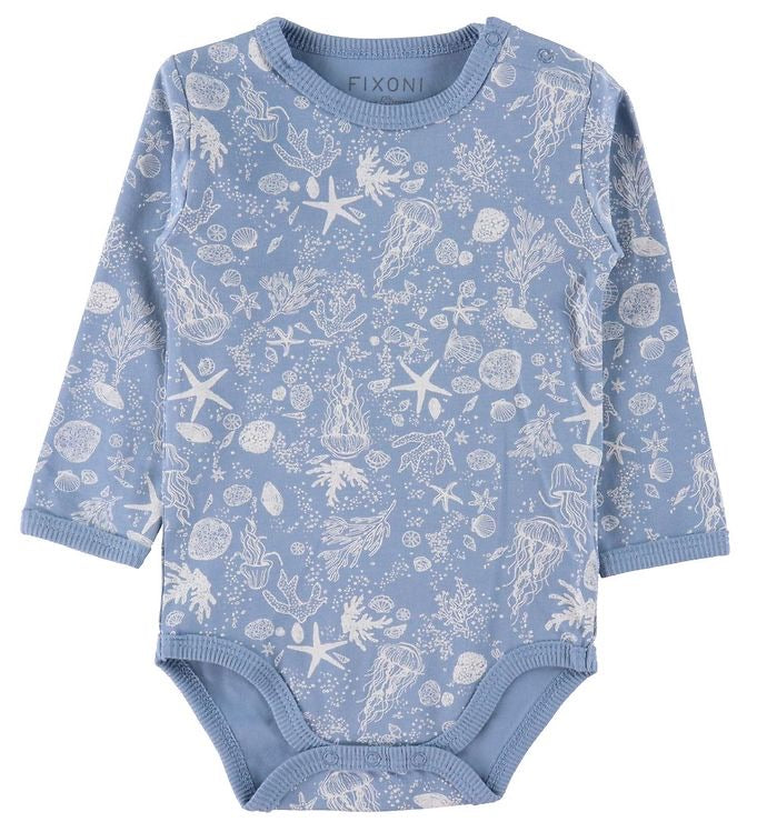 Fixoni Organic Cotton Long Sleeved Onesie Blue w White Undersea Print: NB to 24M