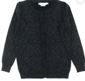 Girls Black Glittery Knit Cardigan