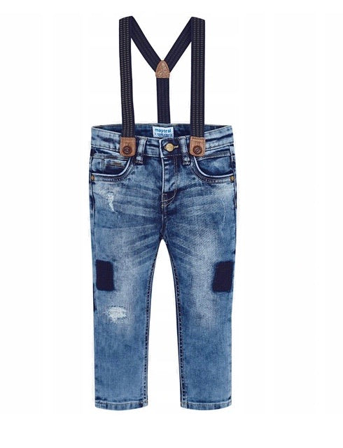 Mayoral Distressed Denim Trousers with Suspenders in size 2 to 9