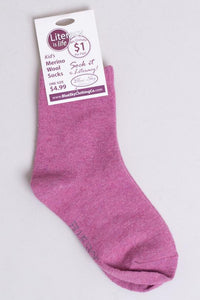 Blue Sky Clothing Kids Merino Wool Socks in Pink  :  6 to 10