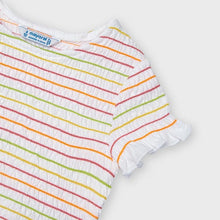 Load image into Gallery viewer, Mayoral Girl Ribbed Short Sleeved Tee in Rainbow Stripes : Sizes 3 to 8