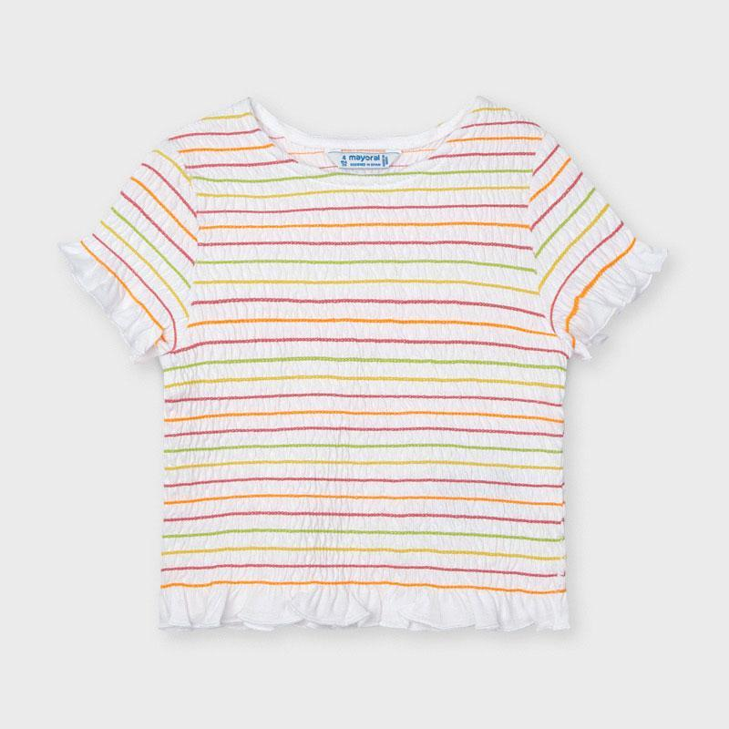 Mayoral Girl Ribbed Short Sleeved Tee in Rainbow Stripes : Sizes 3 to 8