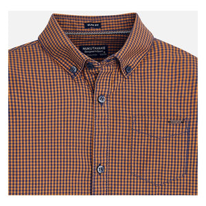 Mayoral Youth Orange/Navy Check Button Down Shirt : Sizes 8 to 18