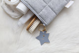 Written In The Stars Nappy Clutch - Dark Grey With Grey Leather Adornment