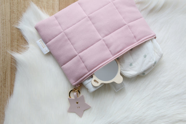 Written In The Stars Nappy Clutch - Blush With Blush Leather Adornment