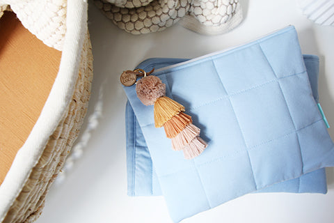 Light Blue Luxe Nappy Clutch