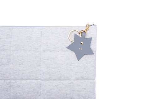 Written In The Stars Nappy Clutch - Light Grey With Grey Leather Adornment